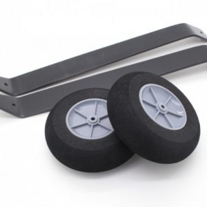 Specs: Strut Material: Aluminum alloy Wheel Material: Foam, plastic Drop: 170mm (from fuselage) Wheel diameter: 90mm Wheel Width: 28mm Weight: 215g (complete set)